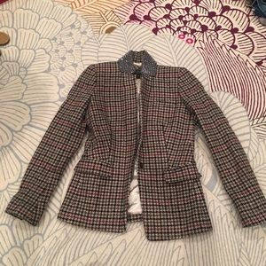 JCREW wooo blazer in plaid with collar beading